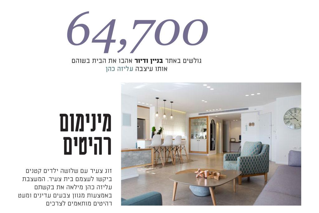 """64,700 גולשים בבניין ודיור אהבו את הבית בשוהם שעוצב ע""""י עליזה כהן"""